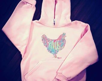 Monogrammed Hen Hoodie, 4 COLOR OPTIONS! Chicken Sweatshirt, Backyard Chicken Lovers Shirt, I Love Chickens, Got Chicken? Gifts For Her