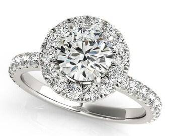 Diamond Halo Engagement Ring in 14k white gold. Halo Diamond Engagement Ring with Moissanite Centerstone 1 Carat.