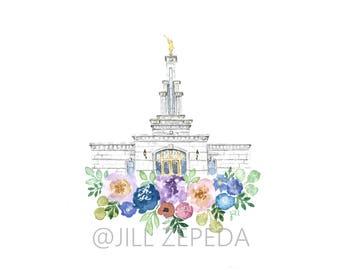 LDS Temple Watercolor, Columbia River Washington LDS Temple