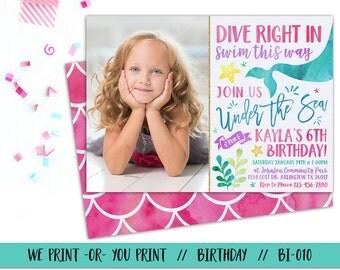 Mermaid Birthday Invitation, Under the Sea Birthday Invitation, Mermaid Invitation, Under the Sea Invitation, Mermaid Party, Sea Party