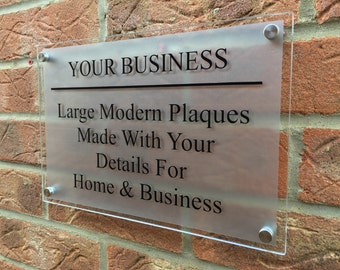 Modern Business Plaque 400mm x 200mm Clear Plaque