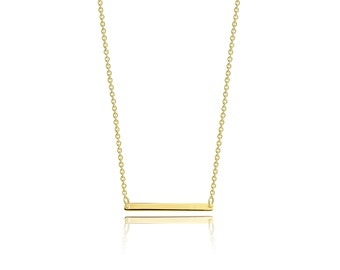 14K Solid Yellow Gold Custom Horizontal Bar Pendant Rolo Chain Necklace Set - Polished Charm