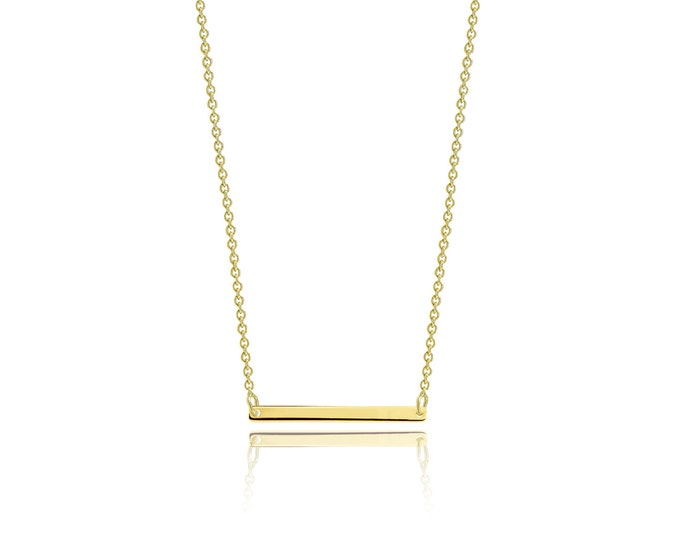 Featured listing image: 10K Solid Yellow Gold Custom Horizontal Bar Pendant Rolo Chain Necklace Set - Polished Charm