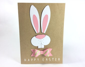 Happy Easter White Rabbit Card - Pink Gold Bow
