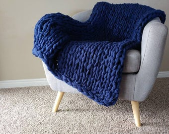 Chunky Navy Blanket, Arm Knit Blanket, Throw Blanket, Knit Throw Blanket, Vegan Blanket, Chunky Blanket, Giant Knit Blanket, Chunky Throw