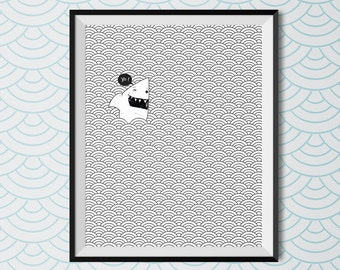 Shark, yo , Printable art, Doodle art, Zendoodle, Home Decor Print, minimalist, Printable Wall Art, line art, shark print, Requin impression