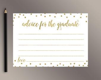 Advice for the Graduate, Gold confetti Graduate Advice Cards, Graduation Advice, Graduation Party decor, Grad Party Games, Class of 2018