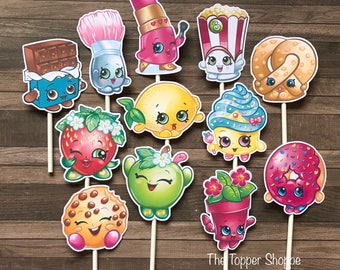 SHOPKINS Cupcake Toppers / Cake Toppers / Die Cuts / Birthday Party / Decorations / Cake Pops / Supplies / Decor / Scrapbook