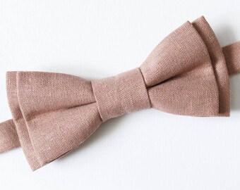 Dark Dusty Pink bow tie Groom bow tie Wedding bow tie For him Linen necktie Mens gift Boyfriend gift Ring Bearer outfit