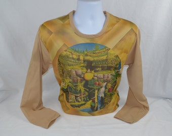 """Vintage 1970's Buddha Meditation Waterfall Picture Shirt Long Sleeves Polyester LARGE Khaki """"It's a Knit by Vanderbilt"""" New Old Stock"""