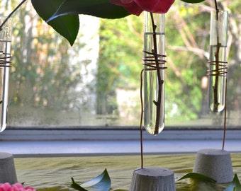 test tube bud vase, recycled lab glass, glass and concrete vase, simple and elegant bud vase, wedding table settings