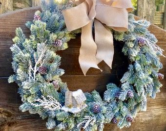 Winter wreath. Door wreath. Holiday decor. Holiday wreath. Snow. Rustic wreath. Grapevine wreath. Winter decor. Winter. Home decor.