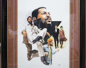 Marvin Gay is original Watercolors Painting by Tom McKinney (34x40) Framed and Matted,Black Art,African american art.