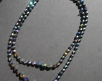 Double stranded black aurora borealis crystal multifaceted beaded necklace made in Germany