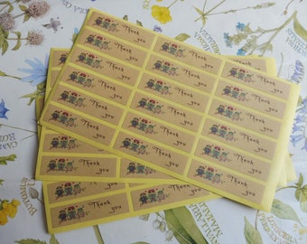 """Tags/labels in kraft paper 36-piece """"thank you"""""""
