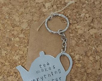 Tea lover gift; teapot keyring; tea gift; British tea; British keyring; tea lover; teapot gift; hand stamped; stamped keyring; teacup