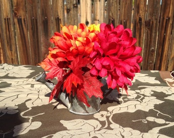 Yellow Orange Red Mums Rustic Watering Can Fall Flower Arrangement Fall Decor Autumn Flowers