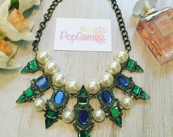 Green and pearl stunning statement fashion chain necklace
