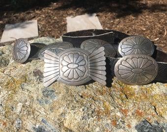 Vintage  Sterling Silver Native American Stamped Concho Belt