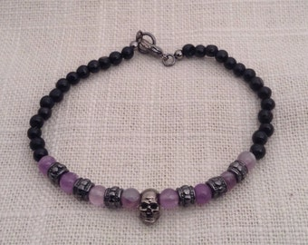 7 inch Amethyst and Black Tourmaline gunmetal skull bracelet