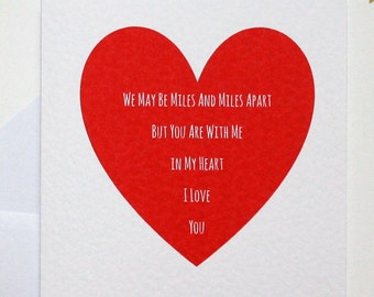 Miles Apart card, long distance love card, I love you card, valentine's card, within my heart card, you are close card, you are near card,