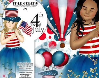 Independence Day ClipArt American Girl Fashion Illustration Planner Stickers Supplies American Flag 4th of July Hat Fireworks Map Blue DIY