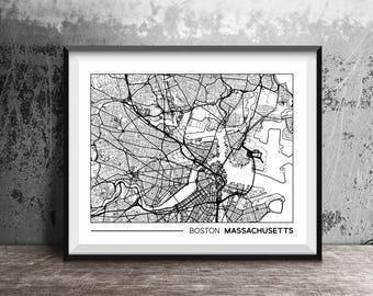 Boston, Massachusetts downtown street map, Boston city map art, Massachusetts map art, MA wall art 8x10
