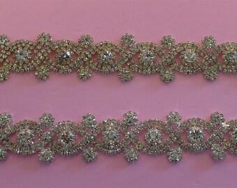Rhinestone trim/ Rhinestone Chain/ Formal gown belt/ Swarovski shine  high quality crystals