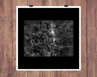 Colorado Roads High Resolution Digital Print / Map of Colorado / Colorado Print / Colorado Wall Art / Colorado Poster / Colorado Map Art