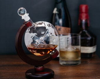 Elegant Spinning Etched Globe Whiskey Decanter with Antique Warplane and Wood Stand - 650ml