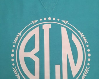 Monogrammed Comfort Color Shirt with Arrow Border