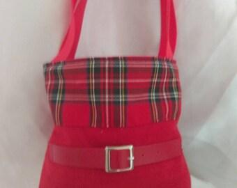 Red Cotton Tartan Tote Bag