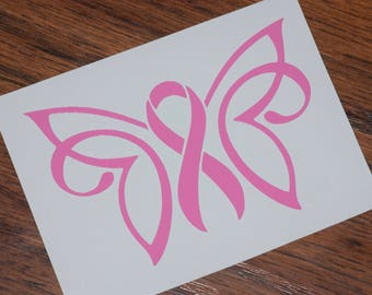 Ribbon Butterfly Decal, Breast Cancer Decal, Pink Ribbon Decal, Cancer Butterfly, Cancer Support Ribbon, Awareness Decals, Butterfly Decal