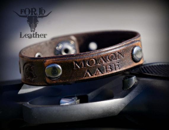 Leather Bracelet, Molon Labe Leather Bracelet, Unique Leather Bracelet