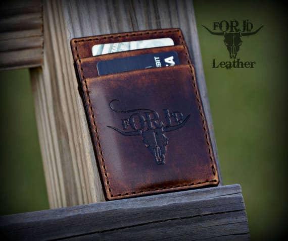 Leather Minimalist Wallet, Leather Wallet, Wallet, Vintage Leather Wallet, Men's Wallet, Groomsman gift