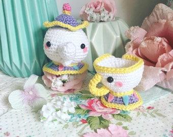 Mrs Potts et puce disney crochet amigurumi