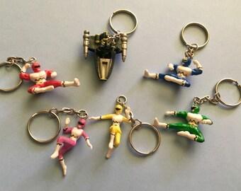Power Ranger Keychains, Red Ranger, Pink Ranger, Yellow Ranger, Green Ranger, Blue Ranger
