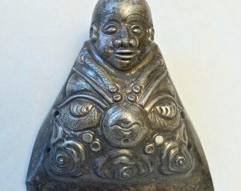 Antique Chinese Qing Dynasty repousse silver buddha hat finial ornament