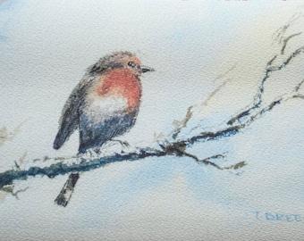 Winter Robin fine art print of original watercolour painting nature bird
