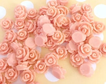 Dusty Pink Rose Cab | Resin Rose Cabochon | Flower Cabochon | Resin Flower | Resin Rosebuds | 9MM Resin Rose | Flatback Rose | 24 Pieces
