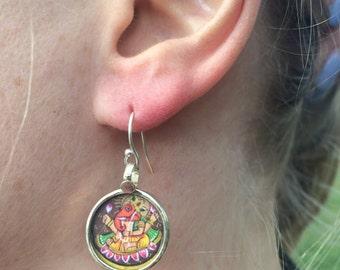 Sterling silver earrings, Ganesh motif, Indian jewellery, 925