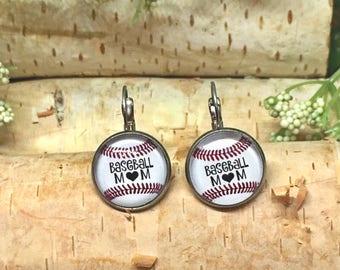 Baseball Mom Earrings - Baseball Mom Jewelry - Small Leverback Earrings - Baseball Mom Gift Idea - Mother's Day Gifts - Baseball Jewelry