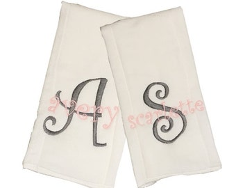 Initial and Name Monogrammed Burp Cloth