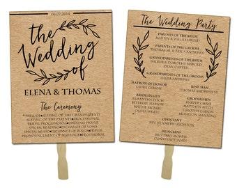 Rustic Wedding Invitation Fan or Program (Print or Digital)