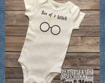 Harry Potter Onesie, Harry Potter Baby, Son of a Witch Cute Bodysuit, Harry Potter Gift, Baby Boy, Hogwarts, Muggle Onesie