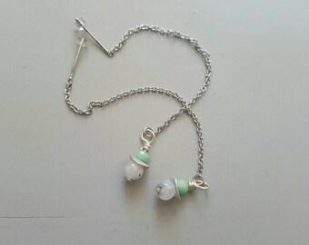 Moonstone and Chrysoprase Earrings
