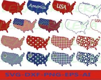 60 % OFF, USA Svg, USA Svg Files, usa monogram frame, usa Cut Files, svg, dxf, ai, eps, png, America svg file, Monogram United States Files