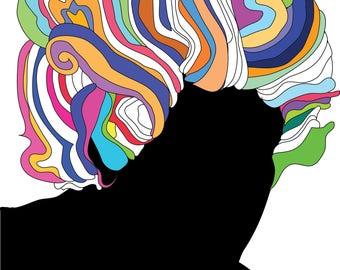 Jimi Hendrix and his Guitar Art Print