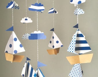 Nautical mobile, boat mobile, sailboat mobile, nursery decor, made to order, cloud mobile, baby shower gift, custom colors