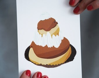 French Pastry Post Card / La Religieuse